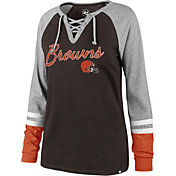 '47 Women's Cleveland Browns Fastbreak Lace-Up Long Sleeve Brown Shirt