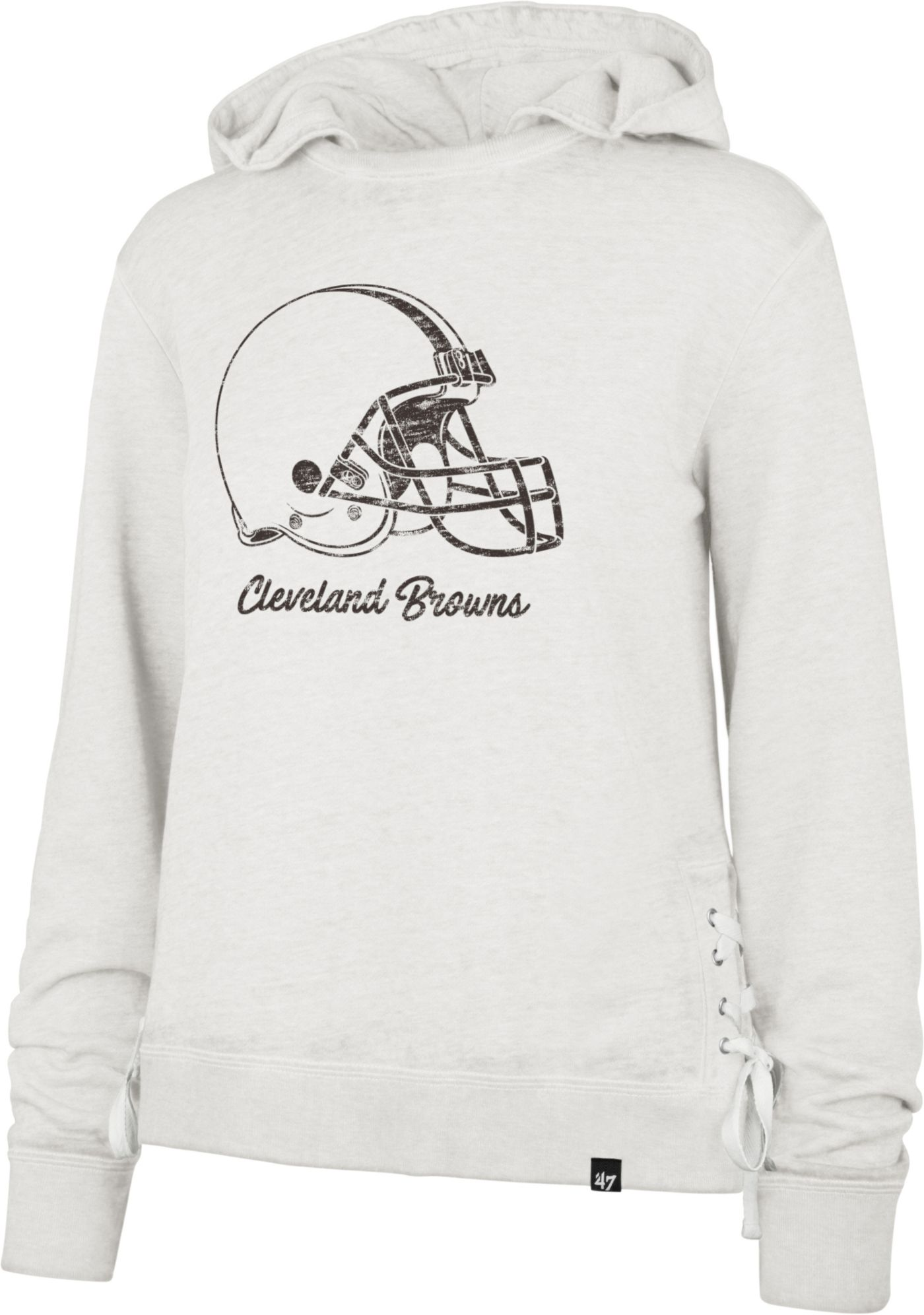 '47 Women's Cleveland Browns Side Lace White Hoodie