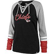 '47 Women's Kansas City Chiefs Fastbreak Lace-Up Long Sleeve Black Shirt