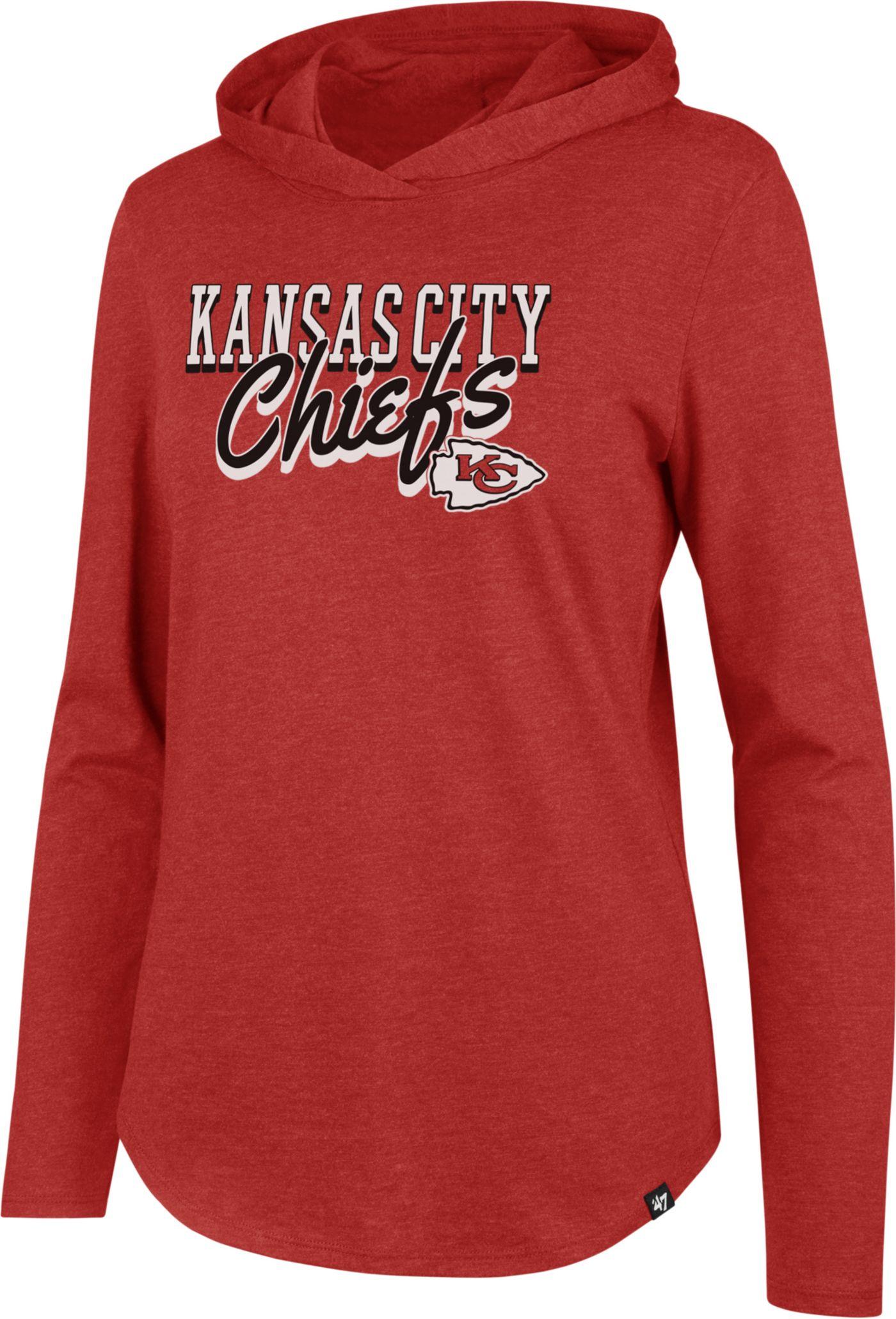 '47 Women's Kansas City Chiefs Club Red Hooded Long Sleeve Shirt