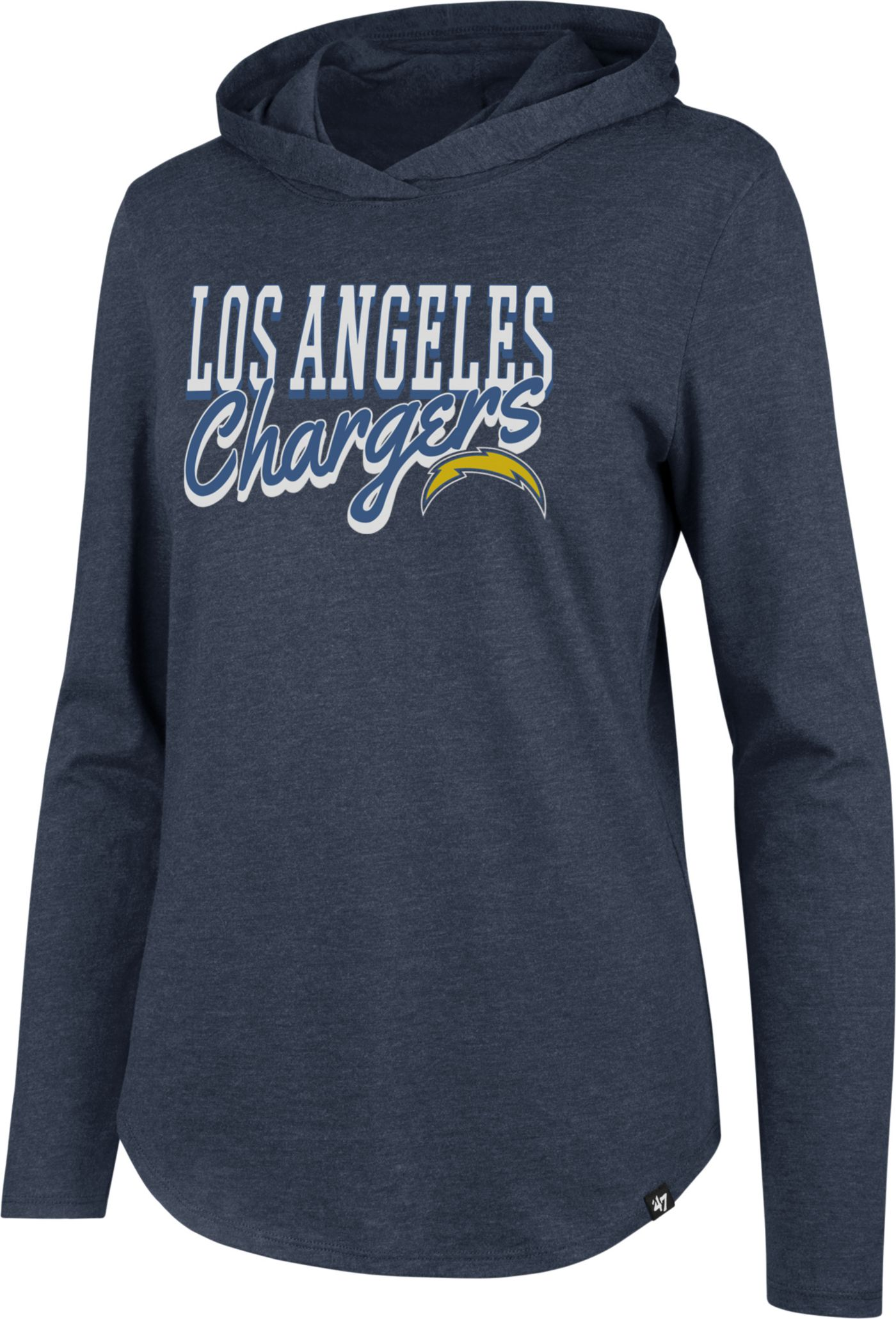 '47 Women's Los Angeles Chargers Club Navy Hooded Long Sleeve Shirt