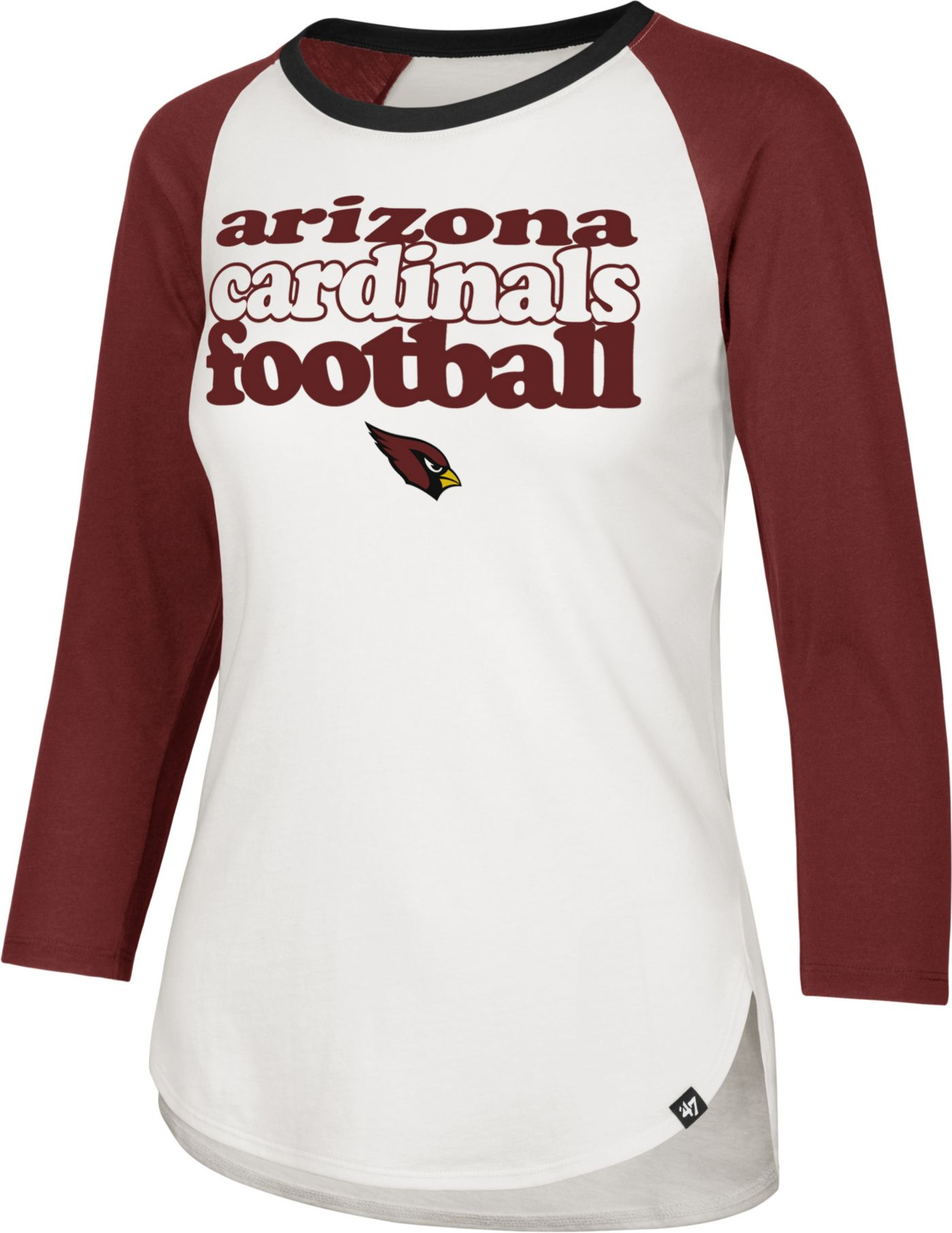 '47 Women's Arizona Cardinals Retro Stock Throwback Raglan Shirt