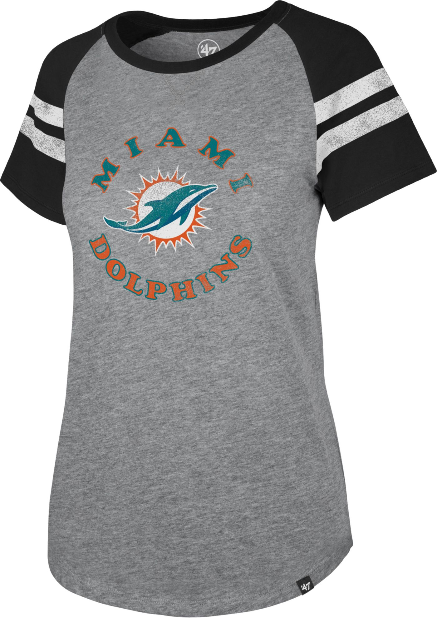 '47 Women's Miami Dolphins Fly Out Raglan T-Shirt