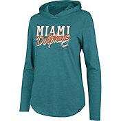 '47 Women's Miami Dolphins Club Aqua Hooded Long Sleeve Shirt