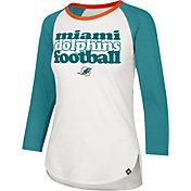 '47 Women's Miami Dolphins Retro Stock Throwback Raglan Shirt