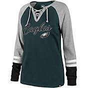 '47 Women's Philadelphia Eagles Fastbreak Lace-Up Long Sleeve Green Shirt
