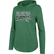 '47 Women's Philadelphia Eagles Club Legacy Green Hooded Long Sleeve Shirt