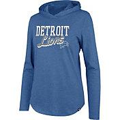 '47 Women's Detroit Lions Club Blue Hooded Long Sleeve Shirt