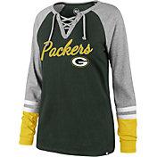 '47 Women's Green Bay Packers Fastbreak Lace-Up Long Sleeve Green Shirt