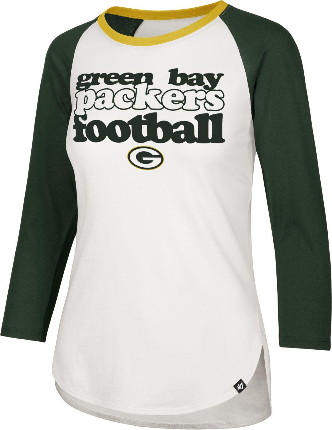 san francisco 49ccd ef01f '47 Women's Green Bay Packers Retro Stock Throwback Raglan Shirt