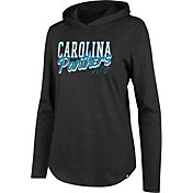 '47 Women's Carolina Panthers Club Black Hooded Long Sleeve Shirt