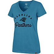 '47 Women's Carolina Panthers Script Rivalry V-Neck Blue T-Shirt