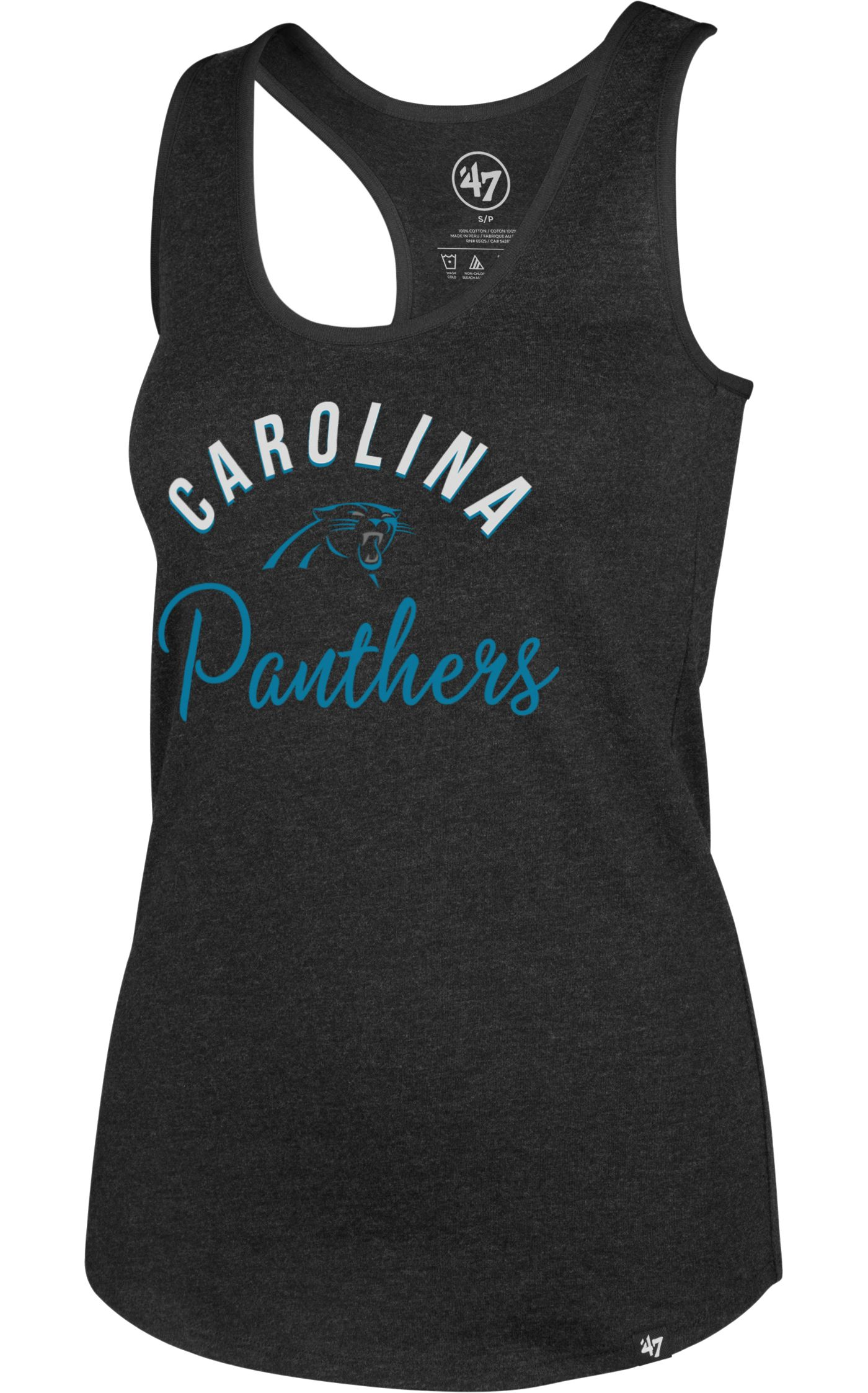 '47 Women's Carolina Panthers Club Black Tank Top