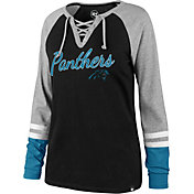 '47 Women's Carolina Panthers Fastbreak Lace-Up Long Sleeve Black Shirt