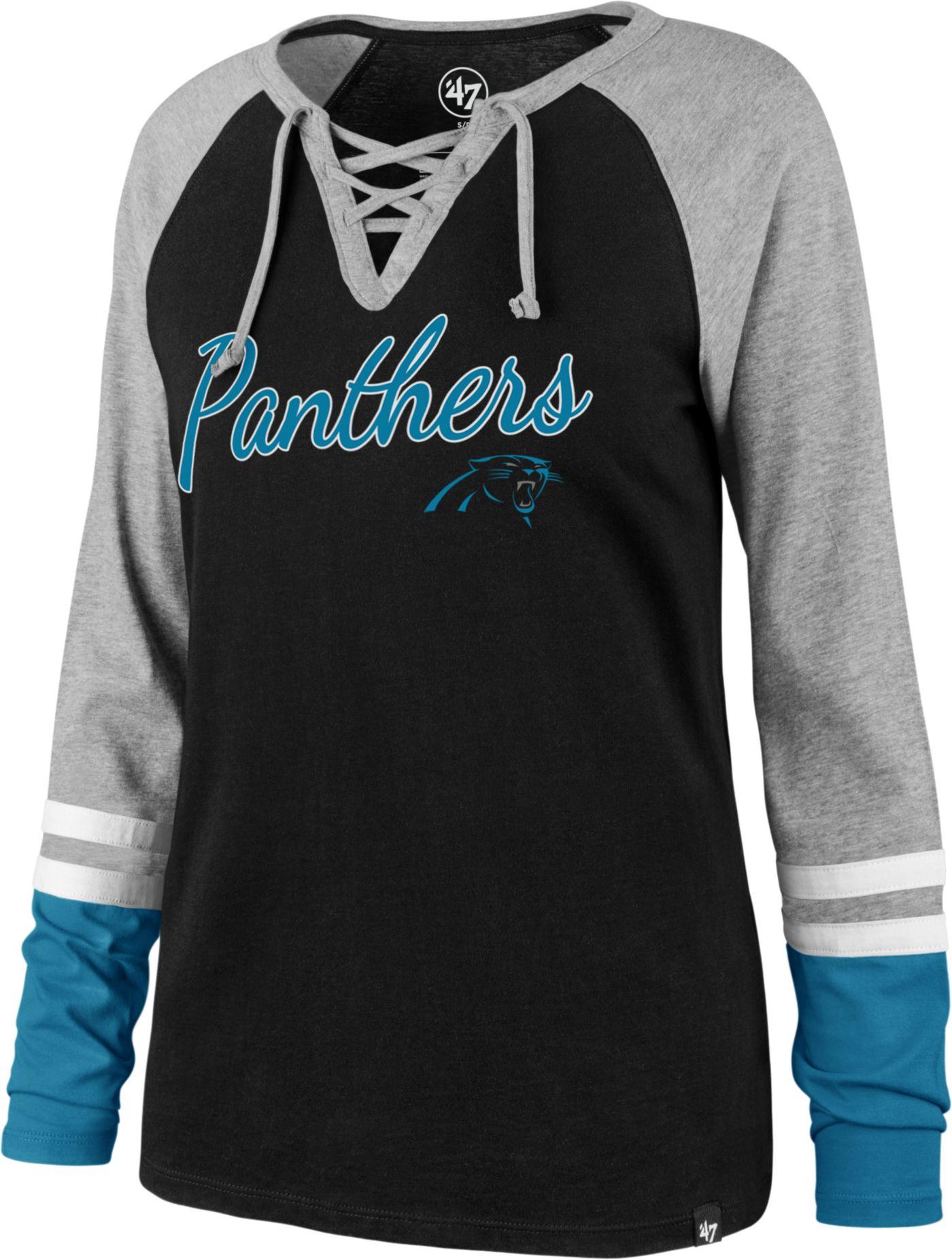 '47 Women's Carolina Panthers Fastbreak Lace-Up Long Sleeve Black Shirt