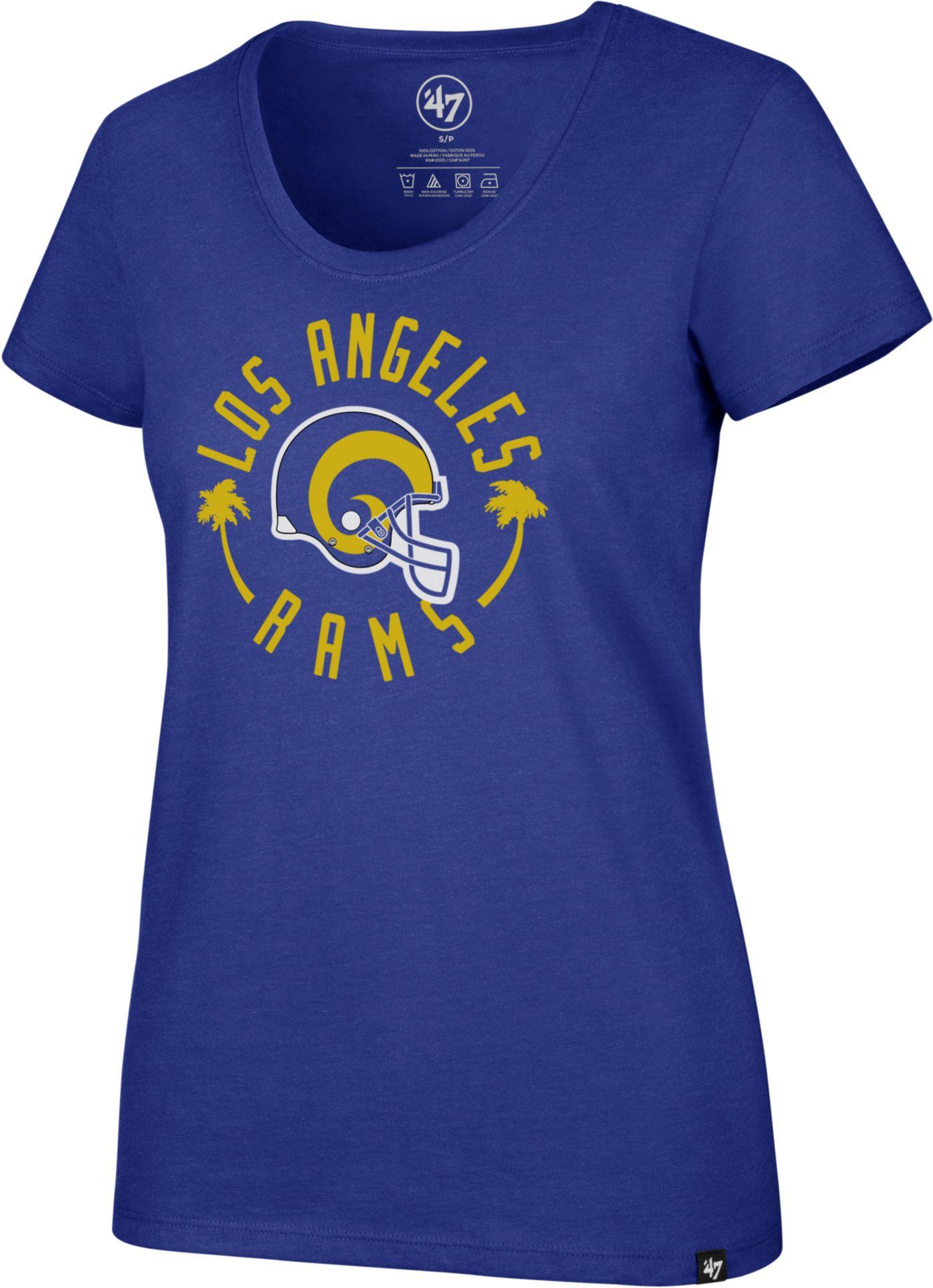 '47 Women's Los Angeles Rams Throwback Royal Scoop T-Shirt