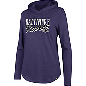 '47 Women's Baltimore Ravens Club Purple Hooded Long Sleeve Shirt
