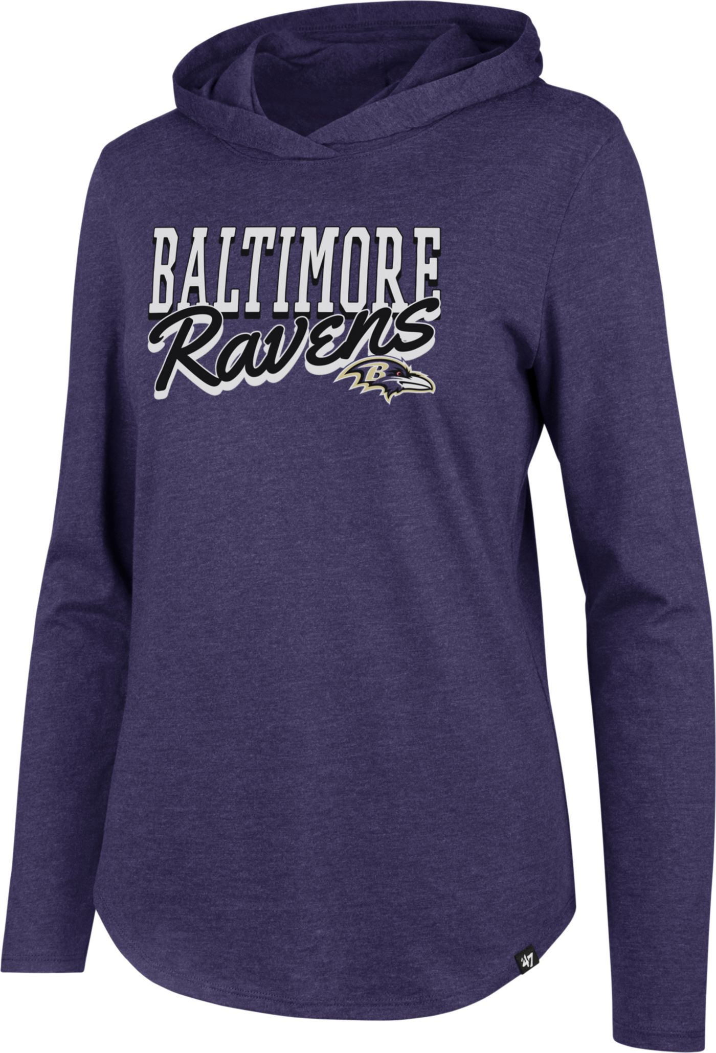 '47 Women's Baltimore Ravens Club Purple Hooded Long Sleeve Shirt