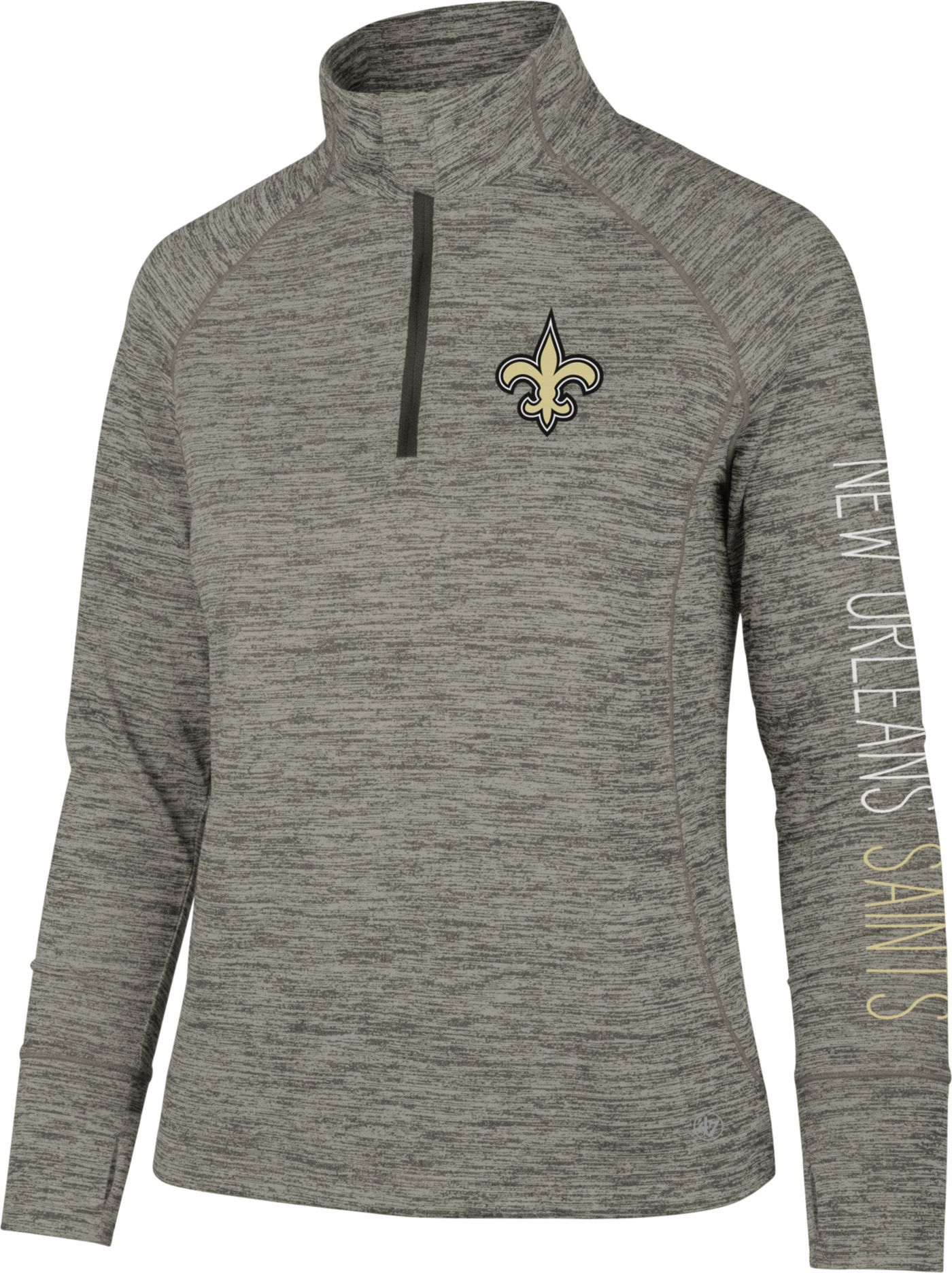 '47 Women's New Orleans Saints Impact Grey Quarter-Zip Pullover