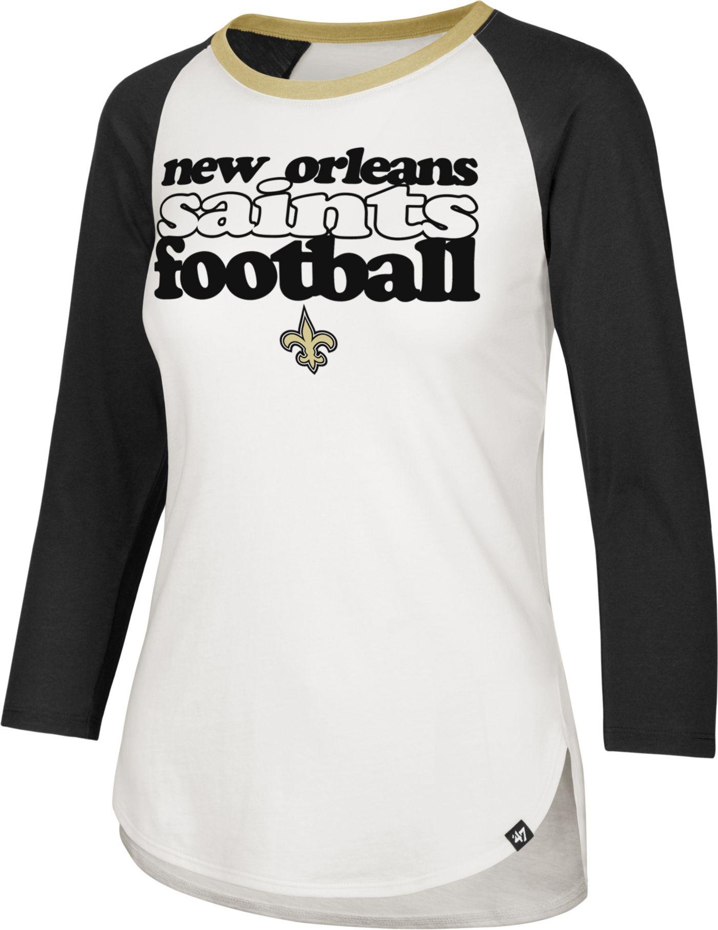 '47 Women's New Orleans Saints Retro Stock Throwback Raglan Shirt