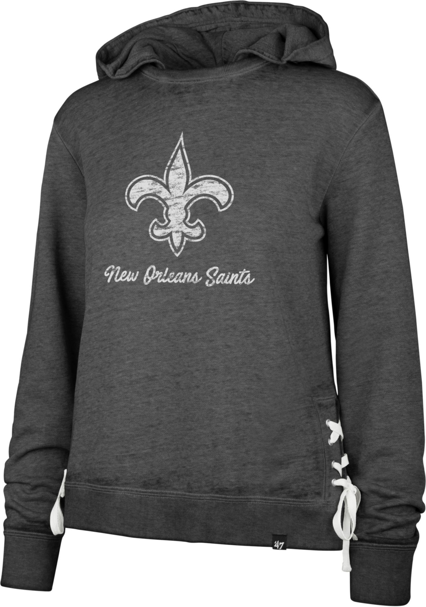 '47 Women's New Orleans Saints Side Lace Black Hoodie