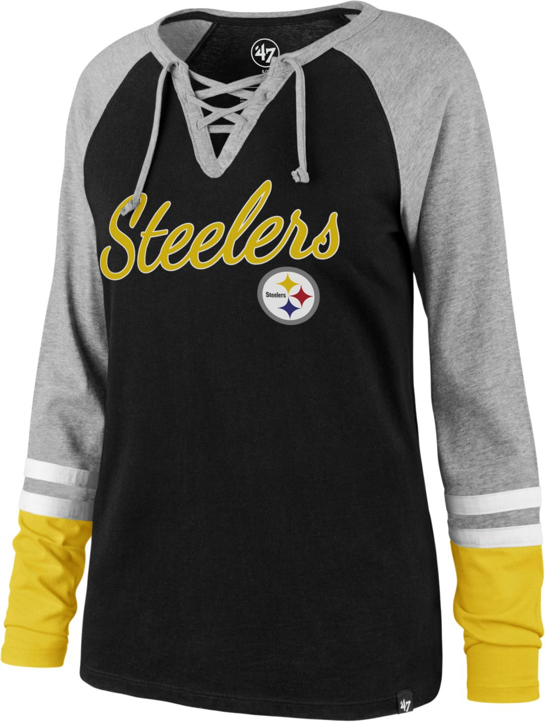 14af5cb8 '47 Women's Pittsburgh Steelers Fastbreak Lace-Up Long Sleeve Shirt