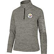 '47 Women's Pittsburgh Steelers Impact Grey Quarter-Zip Pullover
