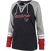 '47 Women's Houston Texans Fastbreak Lace-Up Long Sleeve Navy Shirt