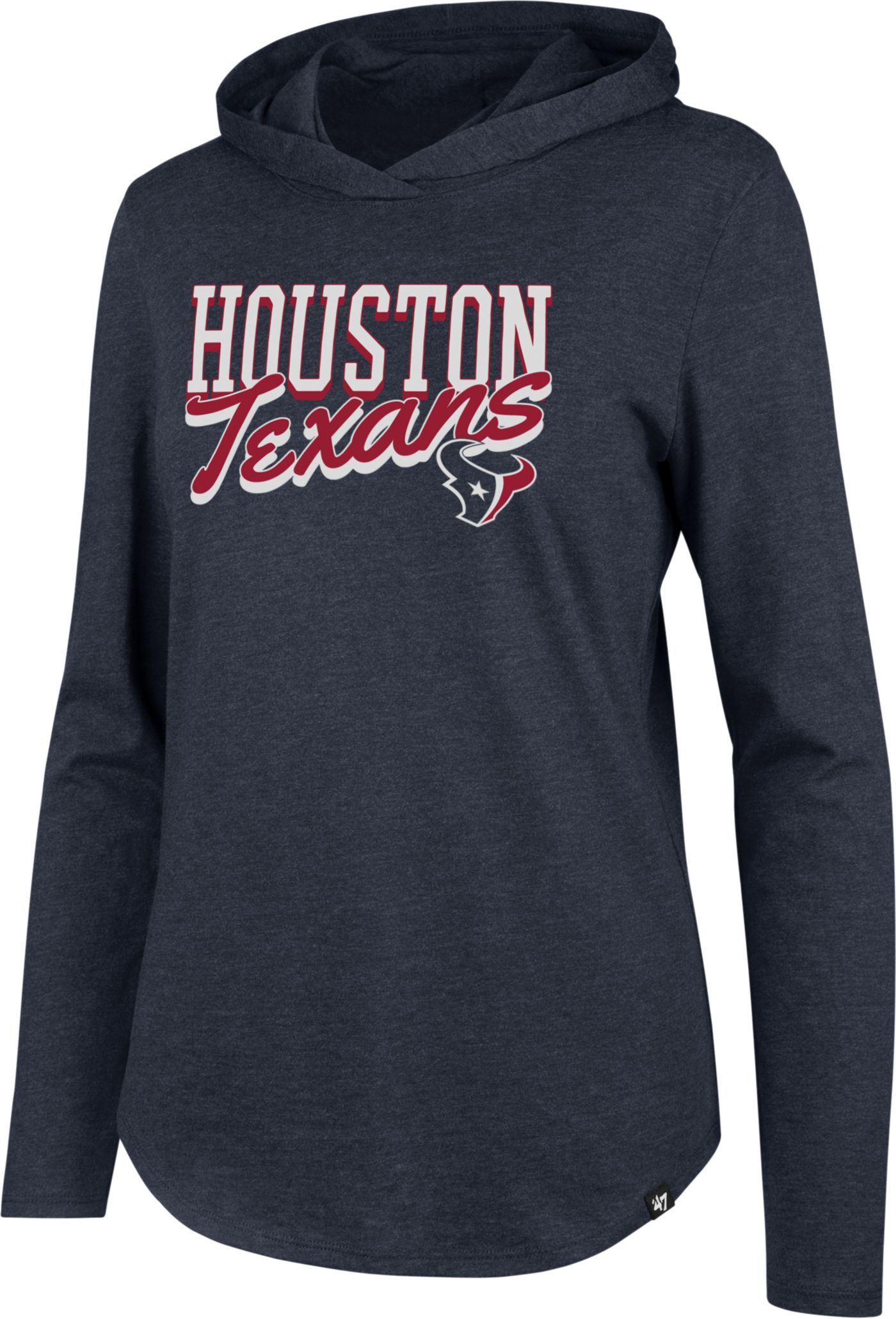 '47 Women's Houston Texans Club Navy Hooded Long Sleeve Shirt