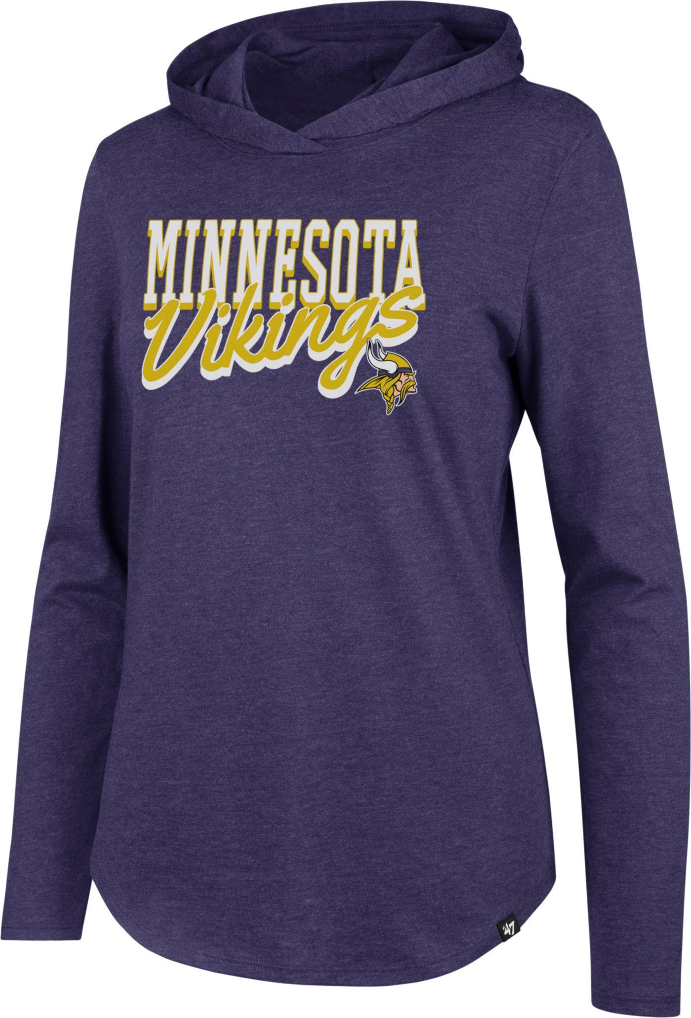 '47 Women's Minnesota Vikings Club Purple Hooded Long Sleeve Shirt