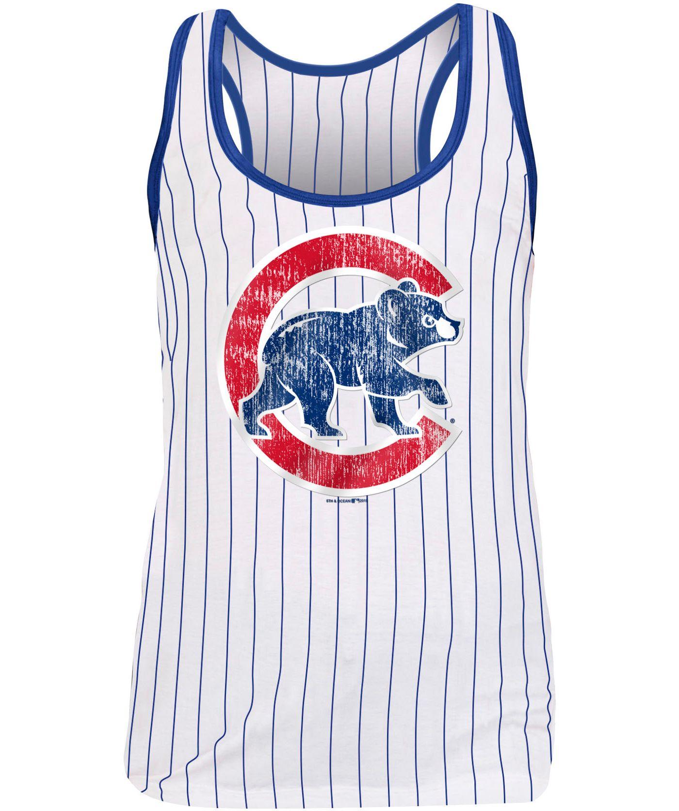 New Era Women's Chicago Cubs Pinstripe Tri-Blend Tank Top