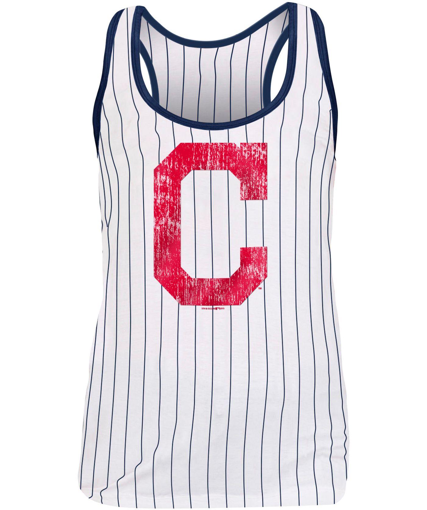 New Era Women's Cleveland Indians Pinstripe Tri-Blend Tank Top