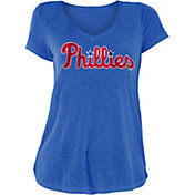 New Era Women's Philadelphia Phillies Blue Slub V-Neck T-Shirt