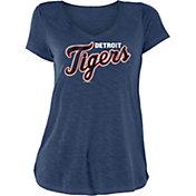 New Era Women's Detroit Tigers Navy Slub V-Neck T-Shirt