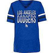 New Era Youth Girls' Los Angeles Dodgers Blue Slub V-Neck T-Shirt