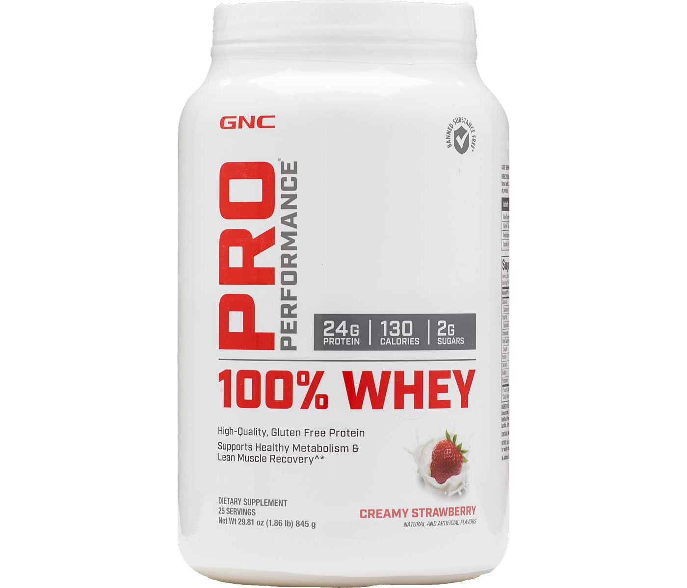 GNC Pro Performance 100% Whey Protein Creamy Strawberry 25 Servings