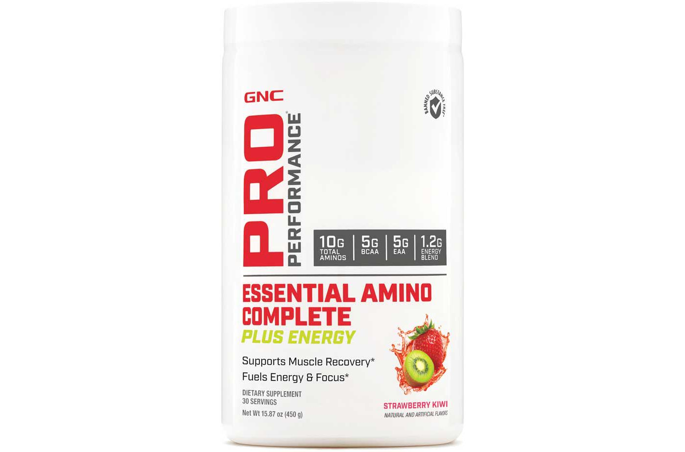 GNC Pro Performance Essential Amino Complete Plus Energy Strawberry Kiwi 30 Servings