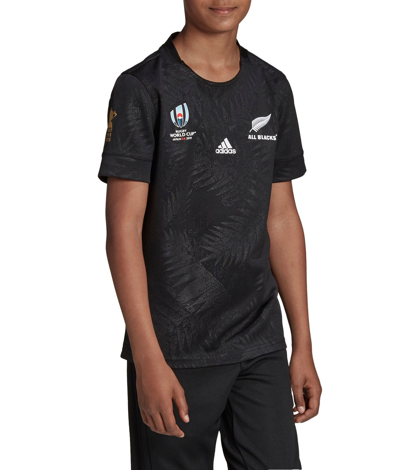 adidas Boys' All Blacks Rugby World Cup Home Jersey