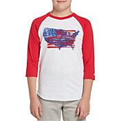 adidas Boys' Triple Stripe ¾ Sleeve Baseball Graphic Shirt