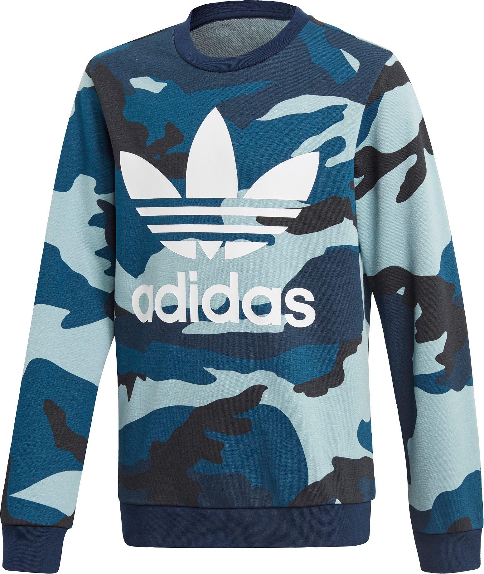 adidas Originals Boys' Camo Crewneck Sweatshirt, Boy's, Size: XS, Multi/White thumbnail