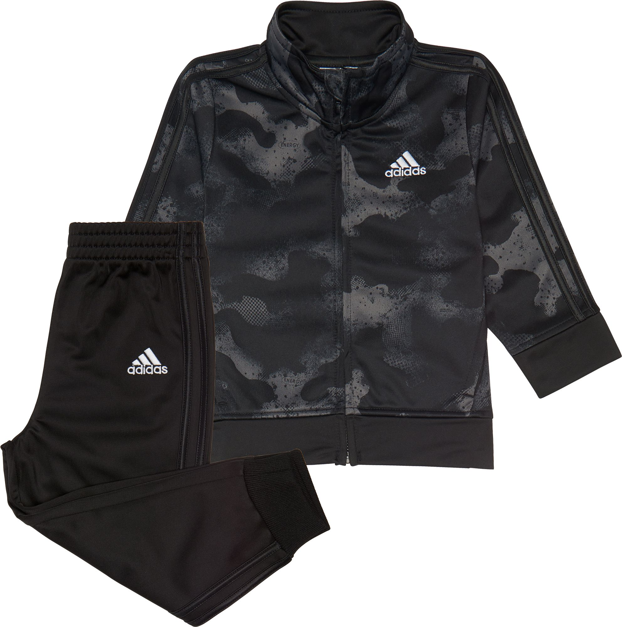 adidas Little Boys' Printed Zip Front Tricot Jacket and Jogger Pants Set, Boy's, Size: 2T, Black thumbnail