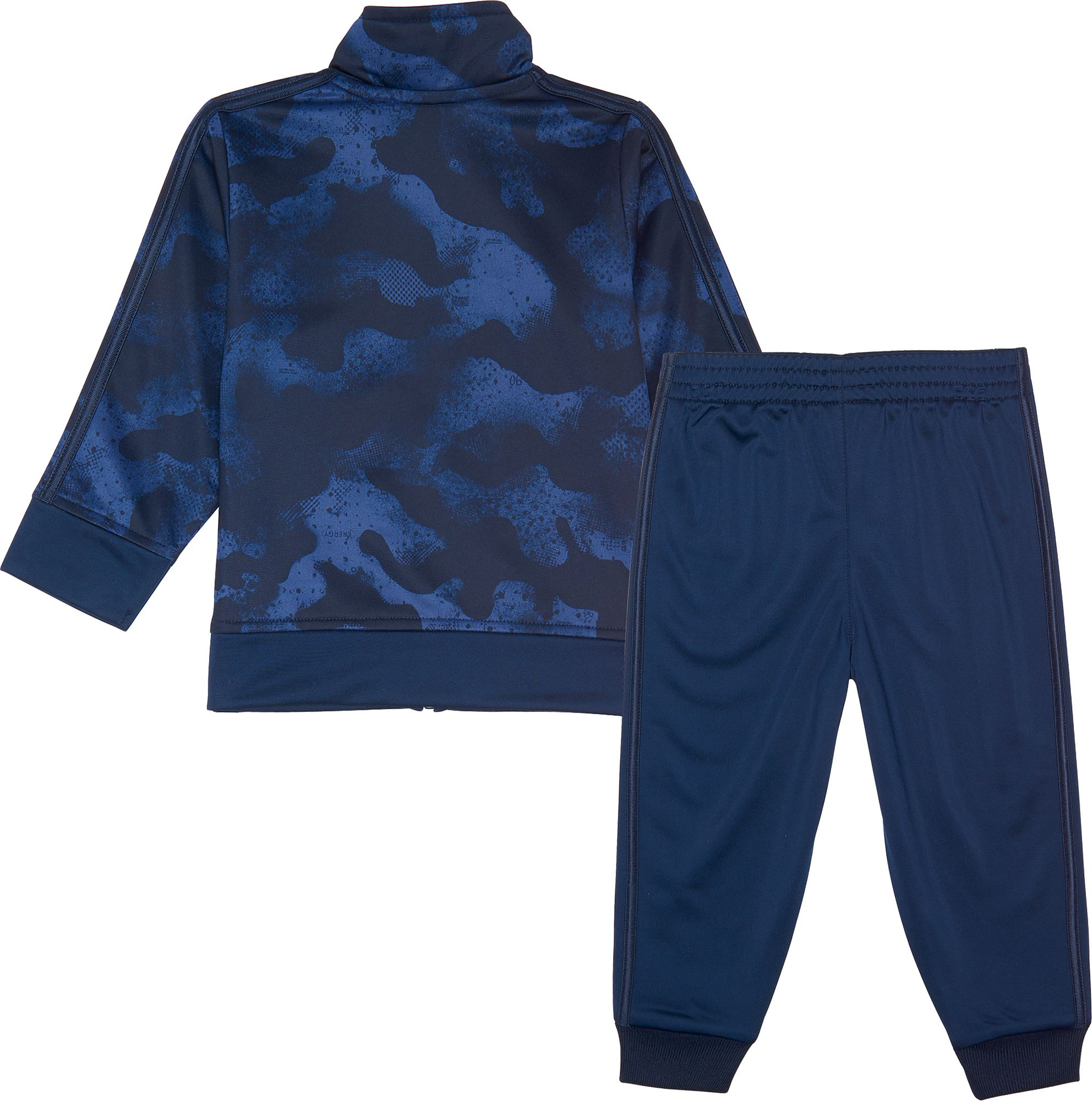 adidas Little Boys' Printed Zip Front Tricot Jacket and Jogger Pants Set, Size 6, Blue thumbnail