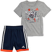 adidas Little Boys' Graphic Cotton T-Shirt and Mesh Shorts Set