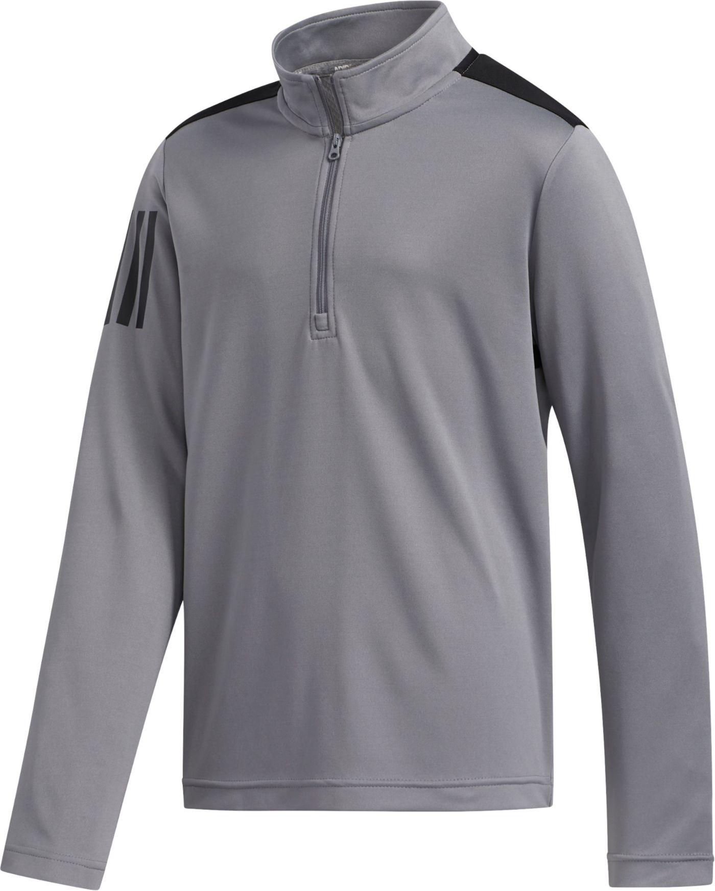 adidas Boys' Three-Stripe Half-Zip Golf Pullover