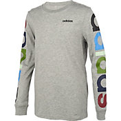 adidas Little Boys' Heather Multi Linear Graphic Long Sleeve Shirt
