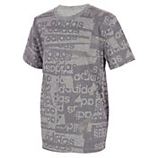 adidas Boys' Heather Core Linear T-Shirt