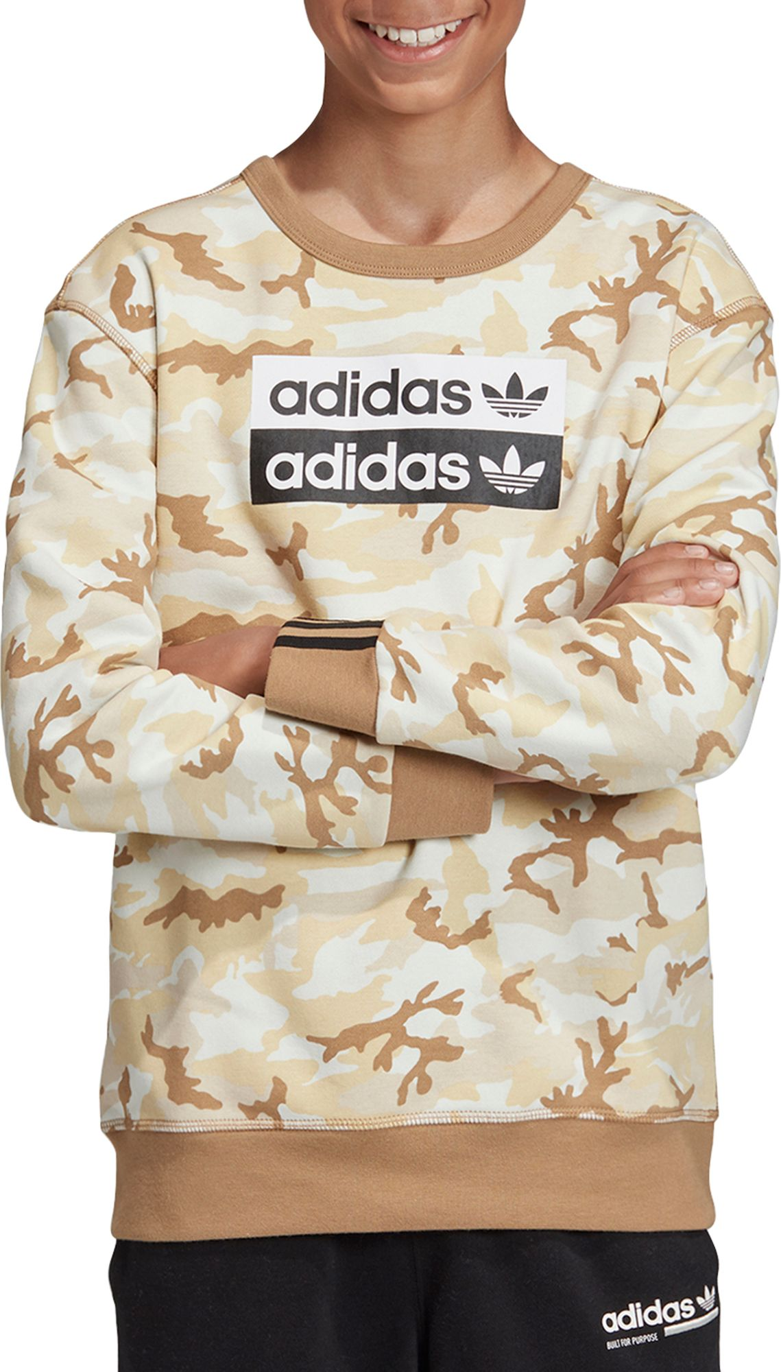 adidas Originals Boy's Vocal Camo Crewneck Sweatshirt, Size: XS, Green thumbnail
