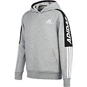 adidas Boys' Fleece Heather 3-Stripe Hoodie