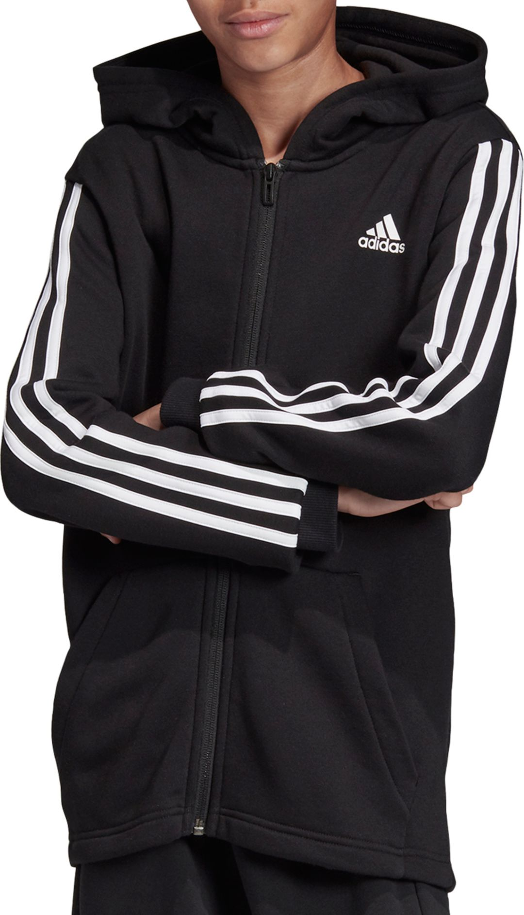 adidas Boys' Must Haves 3-Stripes Full Zip Hoodie