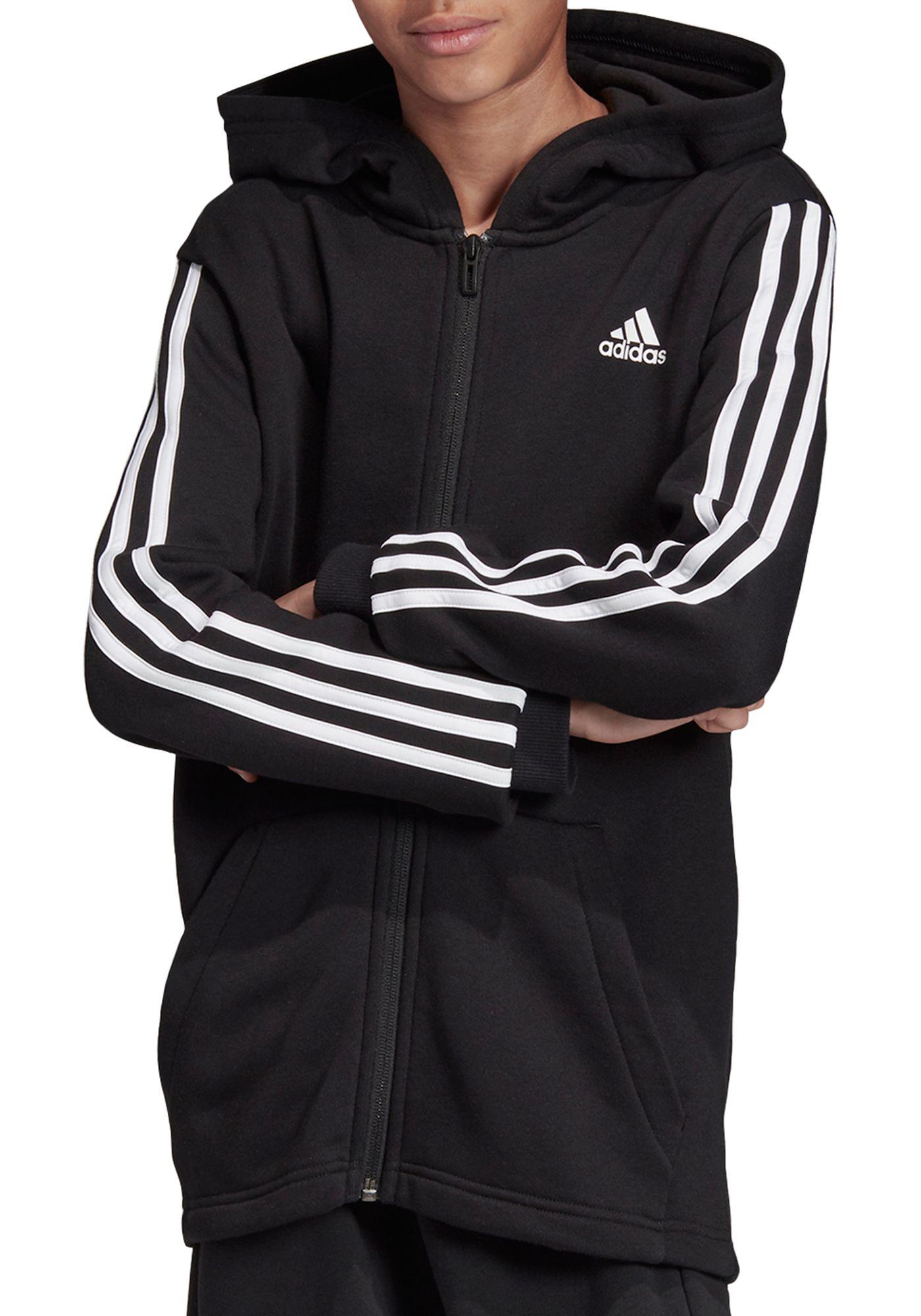 adidas Boys' Must Haves 3-Stripes Full Zip Hoodie